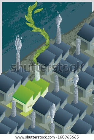 Green Factory in a Gray World. A green and clean factory, amid other contaminants gray factories.