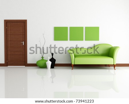 green fashion couch in modern lounge with wooden door-rendering - stock photo