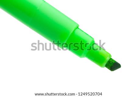 Green felt-tip pen isolated on white background