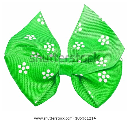 Green festal bow isolated on white background