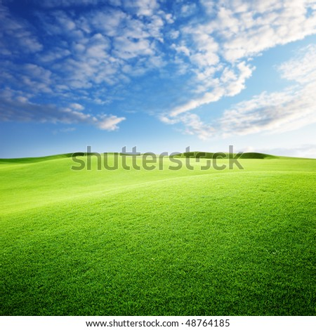 green field and blue sky - stock photo