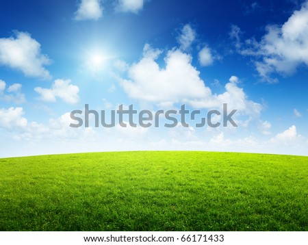 clip art sunny day. green field and sunny day