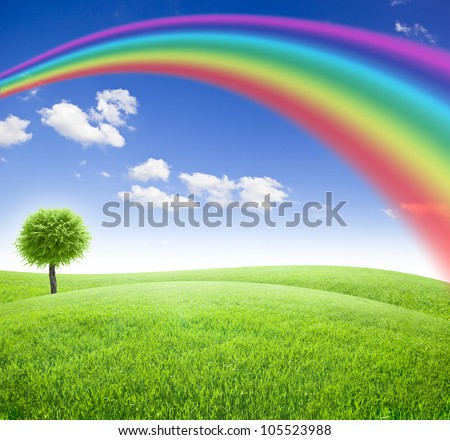 Green field and tree under blue sky with sun and rainbow