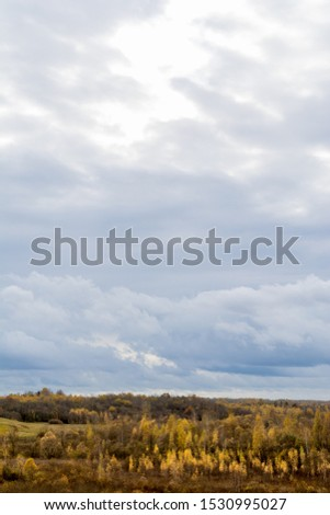 Green field and trees with yellow and orange foliage. Beautiful autumn landscape on a cloudy day with a cloudy sky. #1530995027