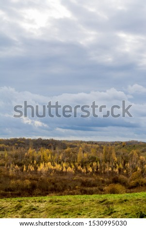 Green field and trees with yellow and orange foliage. Beautiful autumn landscape on a cloudy day with a cloudy sky. #1530995030
