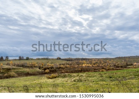 Green field and trees with yellow and orange foliage. Beautiful autumn landscape on a cloudy day with a cloudy sky. #1530995036