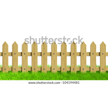 Green field and wooden fence. Render.