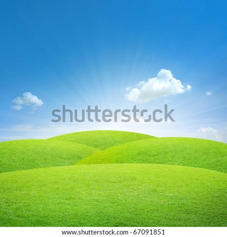 Green field with blue sky - Shutterstock ID 67091851