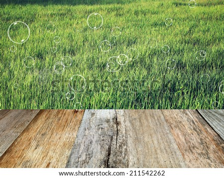 Green field with soap bubbles. Wood planks floor. Beauty nature background