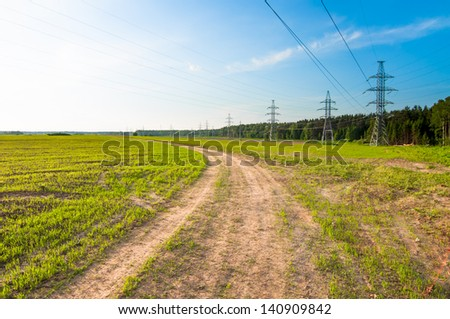 Green field with young corn with Green field, electricity line