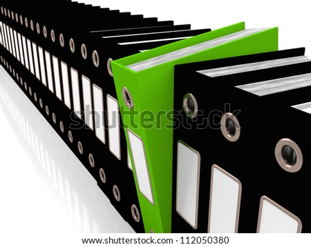 Green File Amongst Black Ones For Getting Office Organized