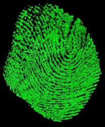 Green fingerprint on a black background