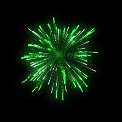 green firework on black background for celebration party. merry christmas and happy new year.