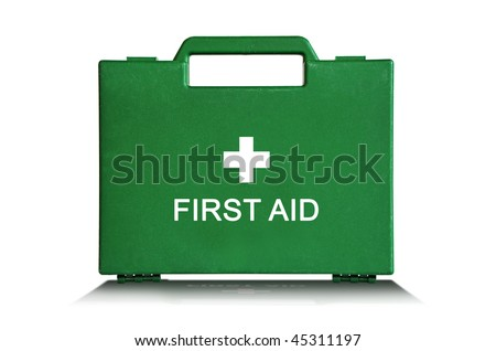 Green first aid kit box against a white background - stock photo
