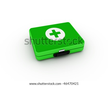 Green first aid kit isolated on white background. High quality 3d render.