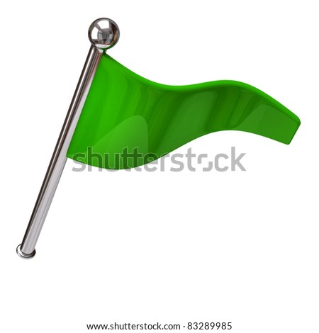 Green flag isolated on white background