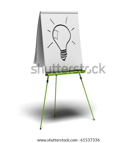 green flipchart with a light bulb drawn on it, image is over a white background