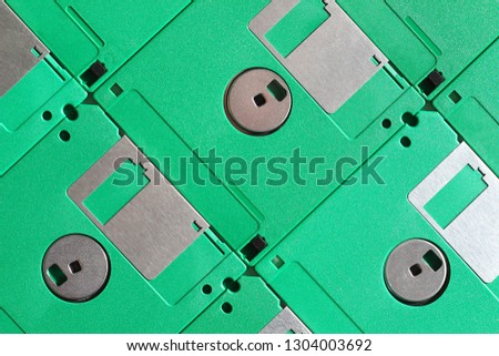 Green floppy disks, close-up seen from above