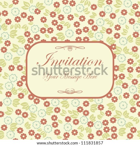 green floral themed pattern with banner for your text or image