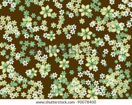 Green Flowers on Brown Background - Bitmap Illustration