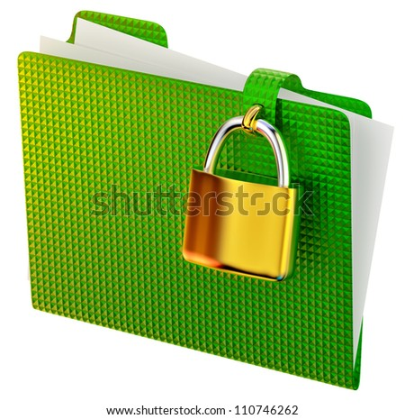 green folder with golden hinged lock stores ecological documents