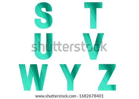 Green font Alphabet s, t, u, v, w, y, z made of natural banana's leaf background. Zdjęcia stock ©