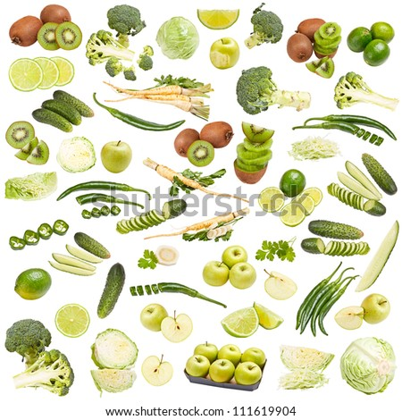 Green food collection isolated on white background