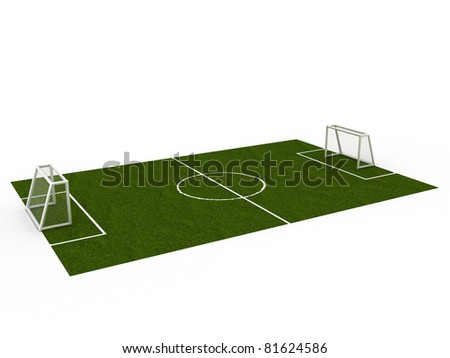 Green football ground on a white background