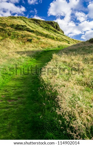 Green footpath to the hill in summer