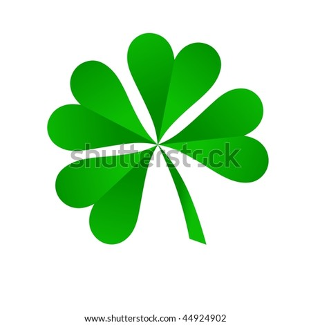 green four leaf clover on white background