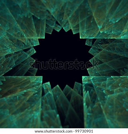 Green fractal illustration of some geometric shapes with small depth of field.