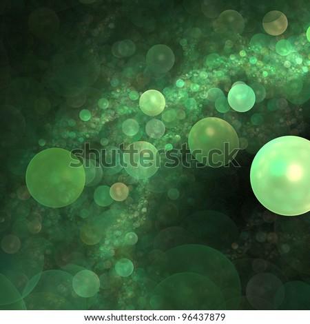 Green fractal illustration that looks like an alien landscape - stock photo