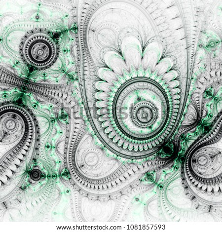 Stock Photo Green fractal steampunk pattern, digital artwork for creative graphic design