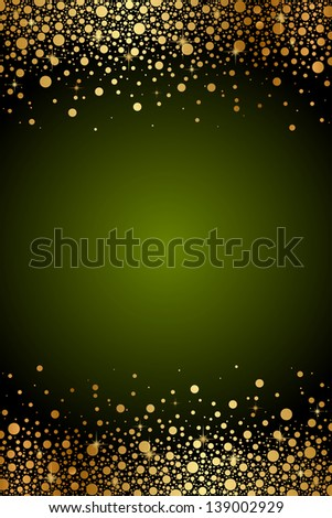 Green frame with gold confetti