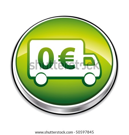 Green free shipping 3d icon.