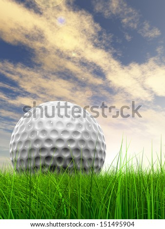 Green, fresh and natural 3d conceptual grass over sunset sky background with  golf ball at horizon, for club,sport,business,recreation,play,game,concept,activity,leisure,competition or fun design