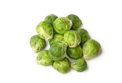 Green fresh brussels sprouts on the white background