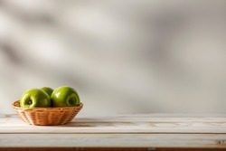 Green fresh eggs and wooden desk of free space for your decoration.White wall with shadows.