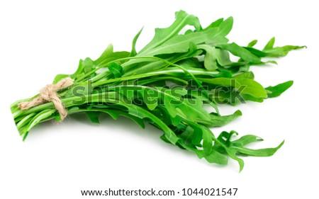 green fresh rucola leaves isolated on white background. Rocket salad or arugula. Сток-фото ©