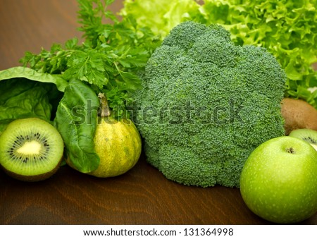 Green fruit and vegetable