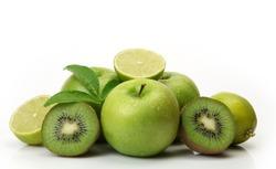green fruit on white background