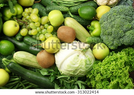 Green fruits and vegetables background