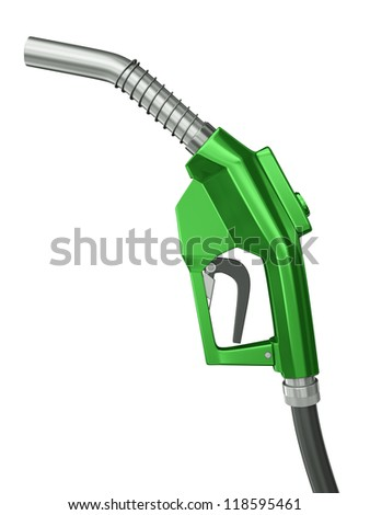 Green fuel nozzle isolated on white background. 3D render.