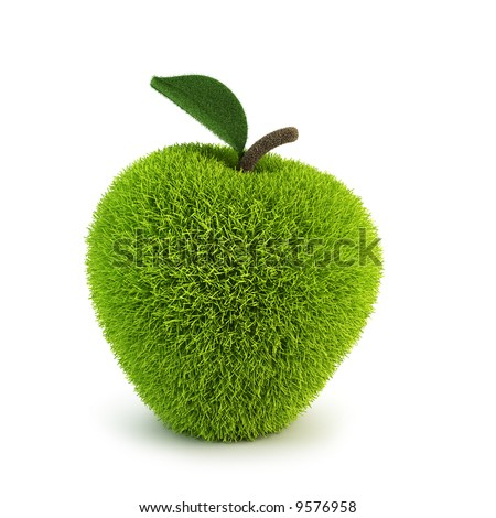 green fur apple apples 3d rendering