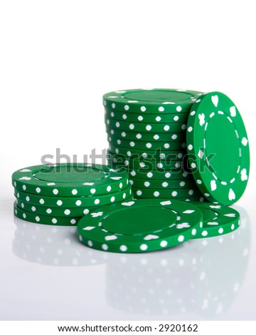Green Gambling Chips Isolated on White