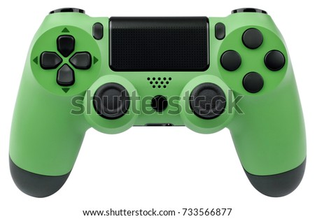 Green gaming controller isolated on white background.