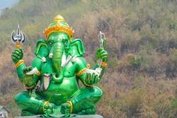 Green ganesh lord in Hindu temple