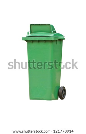 Green garbage bin with wheels isolated on white background