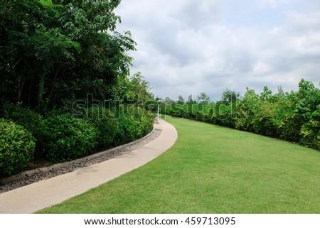 green garden with blue sky - Shutterstock ID 459713095