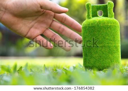 green gas tank concept.  - stock photo